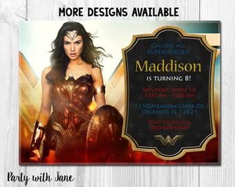 Wonder Woman Birthday Invitation, Invite, Movie, Superhero, Gal Gadot, Girl, Boys, Printable, Party, Kids, Custom, Super Heroes, 4x6