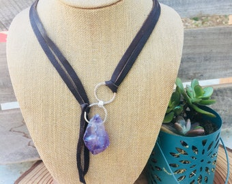 Leather Amethyst Crystal Front Clasp Necklace