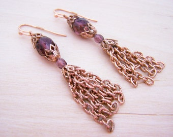 Vintage Purple Crystal Copper Chain Dangle Earrings - Gift for Her - A250