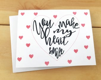 You Make My Heart Smile Greeting Card, Love Card