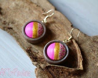 Earrings sweet Wooden Painting shabbychic cabochon