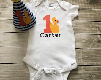 Rubber Duck First Birthday Onesie and Personalized Party Hat