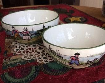 Vintage Zell Pottery 2 nesting kitchen bowls dutch scenes