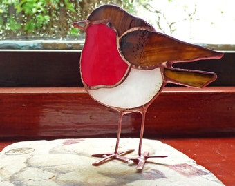 Stained Glass Robin Sun Catcher
