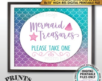 "Mermaid Party Sign, Mermaid Treasures Please Take One Favors Sign, Mermaid Sign, Birthday, Watercolor Style PRINTABLE 8x10"" Instant Download"