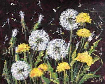 "Dandelions Flowers Painting Original Oil Floral Painting 8 x 10"""