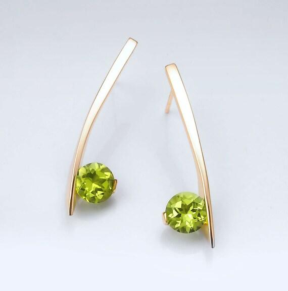 14k yellow gold earrings, peridot earrings, August birthstone, fine jewelry, gemstone earrings, modern earrings, artisan earrings - 2458