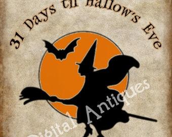 Vintage Halloween Page a Day Calendar Digital Download