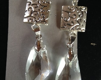 Silver and Crystal drop earrings