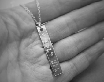 Braille 'I Love You' stamped long Aluminum Necklace with chain,  Anniversary Gift, Wedding Day, Girlfriend, Wife, Gift for her, secret gift