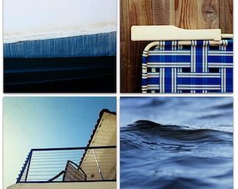 beach wall art // indigo navy blue artwork // summer nautical beach photography - East Coast Summer, four art prints on canvas