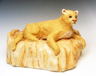 Clay Mountain Lion Sculpture - one of a kind ceramic art