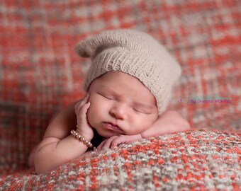Angora Newborn Slouchy - Tan - Knit Slouchy Hat - Slouchy Cap - Photography Prop