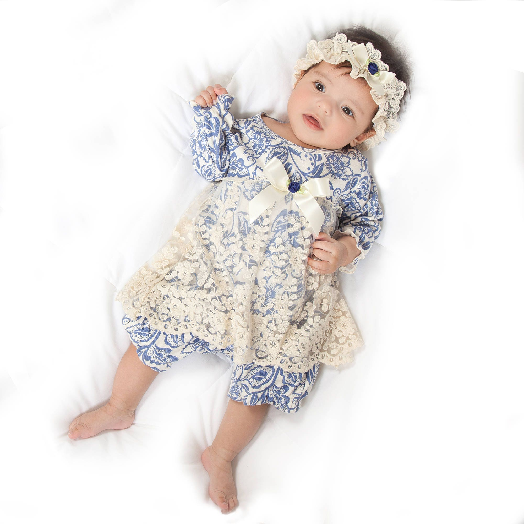 WINTER SALE Baby Girl Lace Skirted Romper Newborn Girl Outfit
