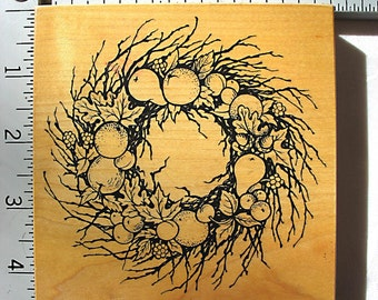 Personal Stamp Exchange Retired Fruit and Twig Wreath DESTASH Rubber Stamps, PSX K-1541, fall,Thanksgiving, grape wreath