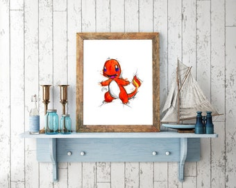 Charmander Pokemon Digital Drawing, Digital Print, Decoration, Nintendo Art, Games Art, Videogames Illustration