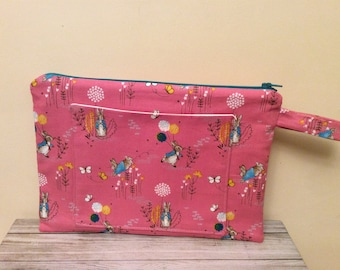 Peter Rabbit Project Bag, Project Bag, Large Makeup Bag, Cosmetic Bag, Travel Case