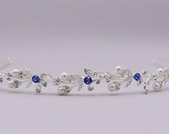 Sapphire Blue Bridal Headband, Pearl Wedding Headband, wedding headpiece, rhinestone tiara, Ava Blue Crystal Pearl Headband