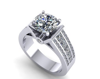 7.5mm round moissanite and diamonds engagement ring in 14kt white gold,style 174WDM
