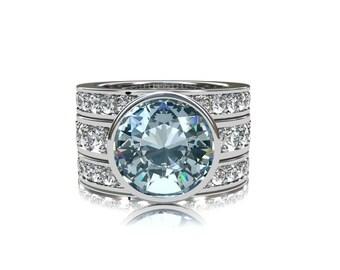 9.00mm Aquamarine engagement ring set, white sapphire ring, white gold ring, unique engagement, bezel, blue engagement, wedding ring set