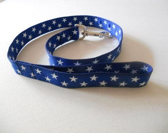 Blue and White Stars/Matching Collar Available/Ribbon Leash