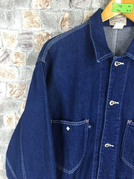 L Jacket Wear Workwear Ranch Workers Jeans Button Vintage Large 1980's ROCKMOUNT Size Blue Jacket Jeans Labour Denim wxn0Aa