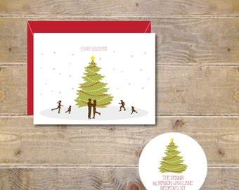 Ice Skating, Christmas Tree,  Christmas Cards, Holiday Cards, Rustic Christmas Cards, Christmas Card Sets, Holiday Greetings, Christmas Tree
