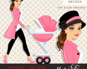 Brunette Chic Mom Character walking with baby carriage. Baby Shower Party Invitation Character. Teal Blue, Pink & polka dots