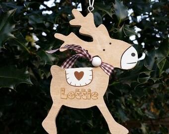Reindeer christmas tree personlised hanging decoration