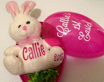 Personalized Jumbo Egg and Plushie-Stuffed Animal-Best Easter Gift-Easter Basket Stuffer-Easter Bunny