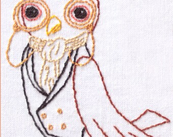 Bird Hand Embroidery Pattern, Owl, Extra Sophisticated, Victorian, Steampunk, Monocle, PDF