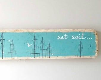 Sailboat Masts Driftwood Painting, Set Sail Nautical Sign, Turquoise Sky, Seagulls, 27 x 5 Inches Coastal Beach Decor, Over Doorway Wall Art