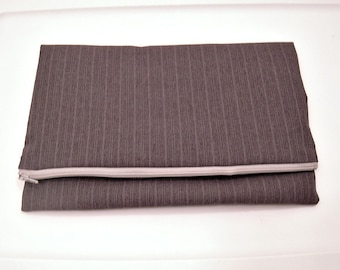 Fold Over Clutch in Gray Striped Suiting