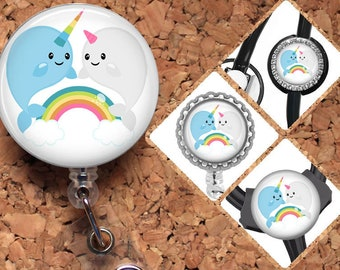 Narwhal Badge Reel, Rainbow,  Lanyard, Retractable ID Name Holder, Nurse Gift, Doctor Gift, Pediatric Badge Reel, Nicu, MBU, RN Gift, Mylar