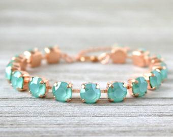 Mint Green | Tennis Bracelet | Mint Jewelry | Swarovski Crystal | Rose Gold Bracelet | Mint  Green Jewelry | Mint Wedding | Beach Wedding