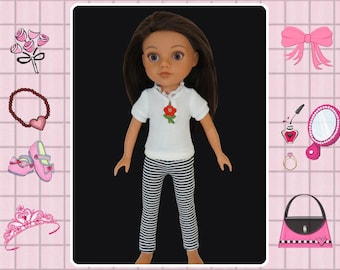 14 inch doll clothes, doll leggings, doll shirt, Corolle les Cheries, Hearts 4 Hearts,  14 in doll shirt, 14 in doll outfit
