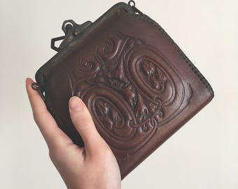 Art Deco Tooled Leather Clutch// Art Nouveau Leather Clutch// Vintage Bosca Purse//
