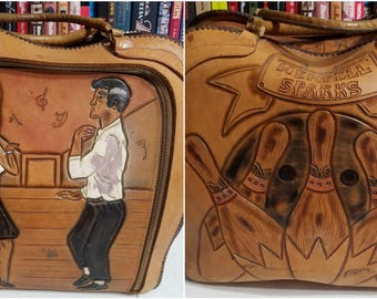 Vintage 1960s Hand Tooled Leather Bowling Ball Bag / Rockabilly / 1960s Bag / Mexican / Vintage 1960s Bowling / Rockabilly Bag / 60s Bag