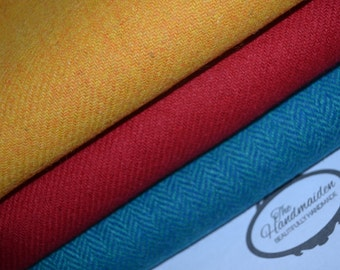 HARRIS TWEED FABRIC 100% pure virgin wool with authenticity labels (3 Piece Bundle 50cm by 36.5cm) Red turquoise yellow