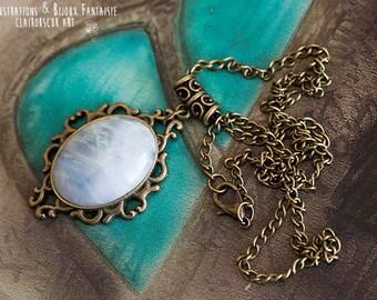Angel pattern Art - Moon stone pendant