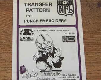Vintage 80s pretty punch embroidery transfer pattern NFLH-10  Patriots NFL  pkg sealed nip unused