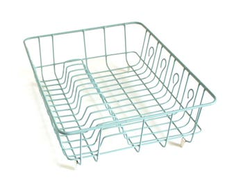 Rubbermaid Dish Drying Rack Turquoise Light Blue Vintage Large Plastic Coated Wire