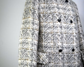 Vintage Wool Coat 1960s Tailored Plaid Double Breasted Winter Jacket