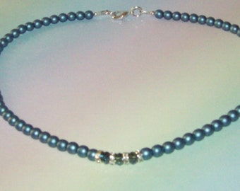 Blue Satin Beaded Necklace