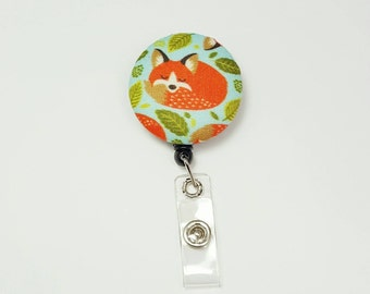 Retactable ID Badge Reel / ID Badge Holder / Name Badge Clip / Badge Pull / Nurse Badge Reel / Retractable Badge Holder - Foxy