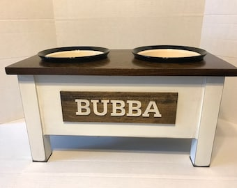 Ceramic Dog Bowl,Rustic Pet Feeder, Personalized Dog Bowl, Raised Dog Feeder, Elevated Dog Feeder, Dog Feeding Station, Dog Dish , Dog Mom