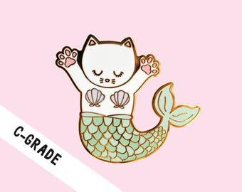 C-GRADE PIN - Enamel Pin, Mermaid Cat Pin, Hard Enamel, Second Pins, B-grade, Imperfect, Defect