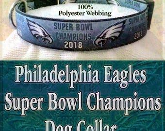 Super Bowl Champions 2018 Philadelphia Eagles Polyester Webbing NFL Football Designer Novelty Dog Collar