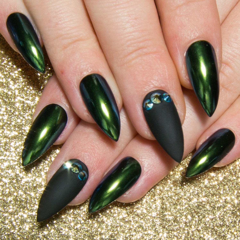Chrom-Acryl-Nägel Crystal falsche Nägel Stiletto Presse