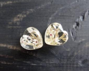 Heart plugs wildflower romantic wedding plug earring pressed flower plugs terrarium resin gauges valentines day gift ear tunnel 0g 00g 12mm